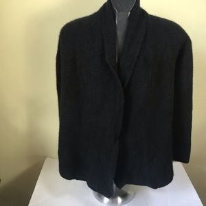 Talbots 100% Cashmere Textured Thick Shawl Collar Open Cardigan 2ply Jacket Soft